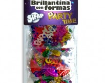 Brillantina con formas PARTY TIME x 5 bolsitas de 3 grs c/u